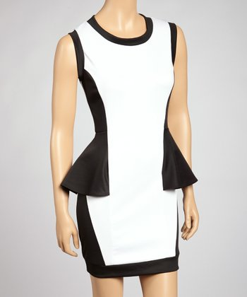 White & Black Peplum Dress