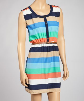 Navy & Coral Stripe Belted Dress