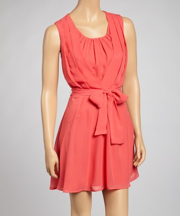 Coral Pleated Tie-Waist Dress - Women