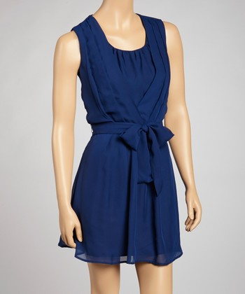 Navy Pleated Tie-Waist Dress - Women