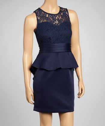 Navy Lace Peplum Dress