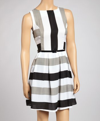 Black & Gray Stripe Belted Dress