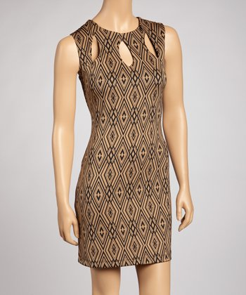 Taupe Geometric Teardrop Cutout Dress