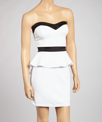 Ivory & Black Sweetheart Peplum Dress