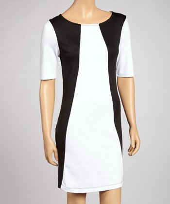 Black & White Color Block Shift Dress