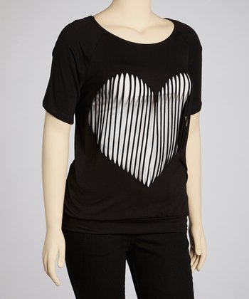 Black Slashed Heart Top - Plus