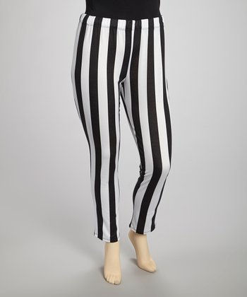 Black & White Stripe Leggings - Plus
