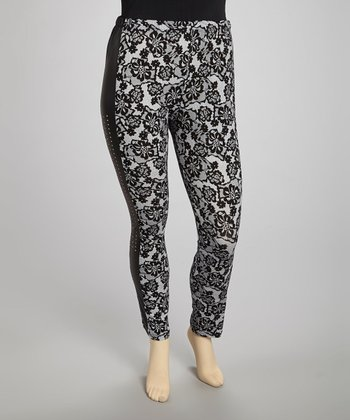 Black Floral Leggings - Plus