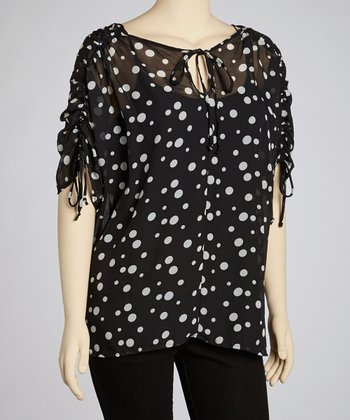 Black & White Polka Dot Top - Plus