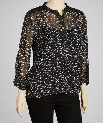 Black & White Bird Top - Plus