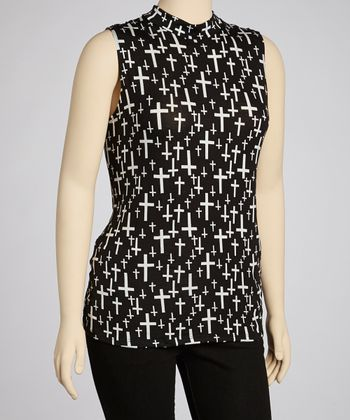 Black & White Cross Sleeveless Top - Plus