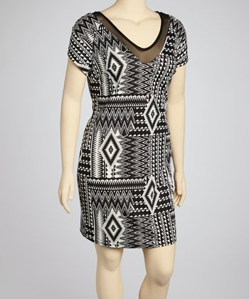 Black & White Geometric V-Neck Dress - Plus