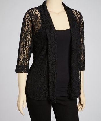 Black Floral Lace Jacket - Plus