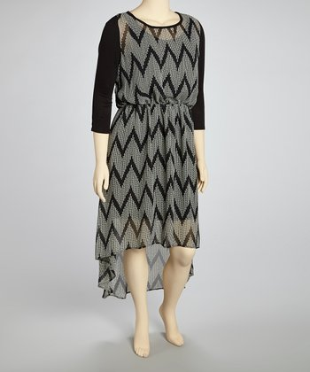 Black & White Zigzag Hi-Low Dress - Plus