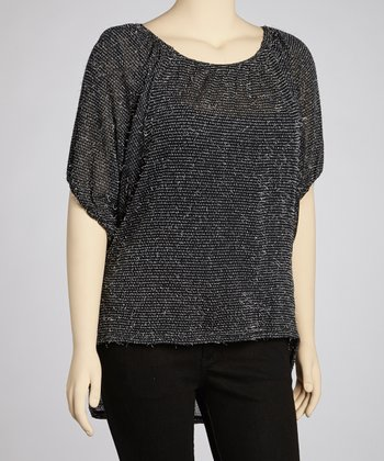 Black Feather Hi-Low Tunic - Plus