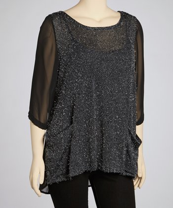 Black Feather Sheer Panel Tunic - Plus