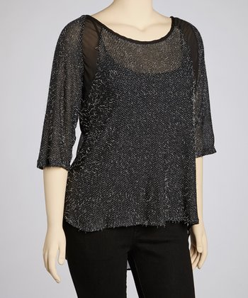 Black Feather Scoop Neck Tunic - Plus