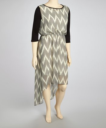 Ivory & Black Zigzag Dress - Plus