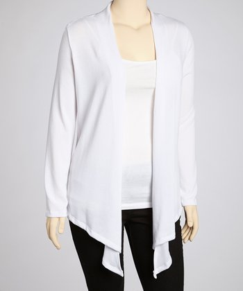White Open Cardigan - Plus