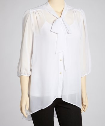 White Sash Top - Plus