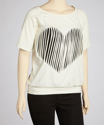 Ivory Slashed Heart Top - Plus