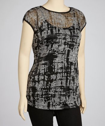 Black & Gray Abstract Top - Plus