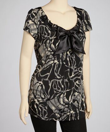 Black Abstract Sash Top - Plus