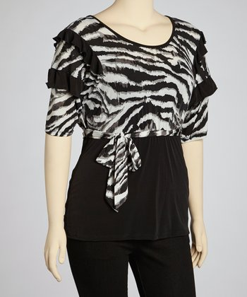 Gray Zebra Tie-Waist Top - Plus