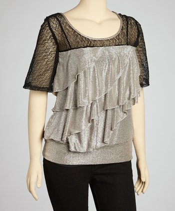 Silver & Black Ruffle Scoop Neck Top - Plus