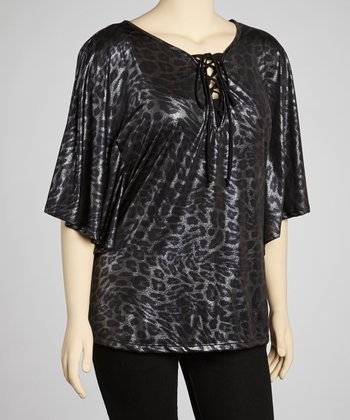 Silver Leopard Lace-Up Top - Plus