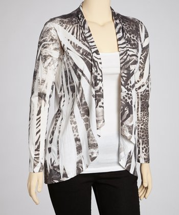 White & Black Animal Sublimation Open Cardigan - Plus