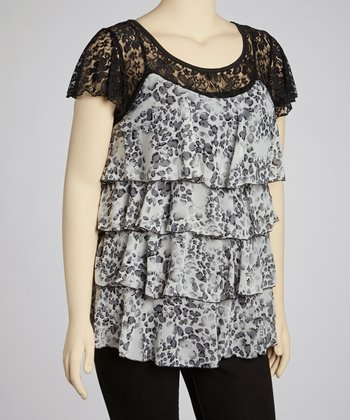 Gray Leopard Ruffle Lace Top - Plus