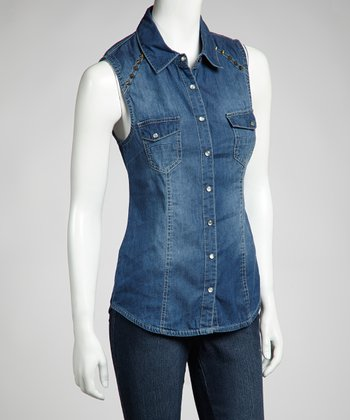Dark Stone Wash Denim Studded Vest