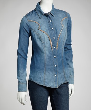 Medium Blue Denim Embellished Long-Sleeve Top