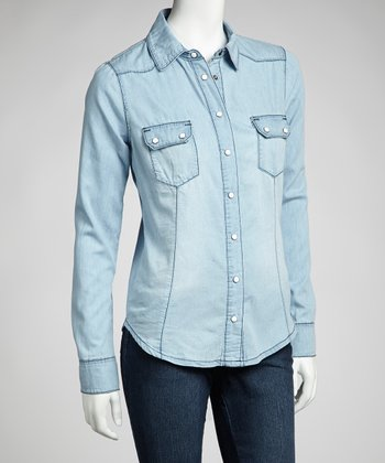 Light Stone Wash Denim Long-Sleeve Top