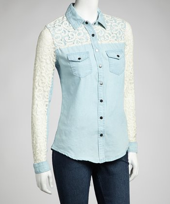 Light Stone Wash & Natural Denim Lace Long-Sleeve Top