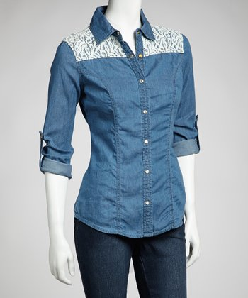 Medium Stone Wash Denim Lace Long-Sleeve Top