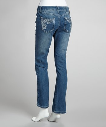 Medium Stone Wash Embellished Straight-Leg Jeans