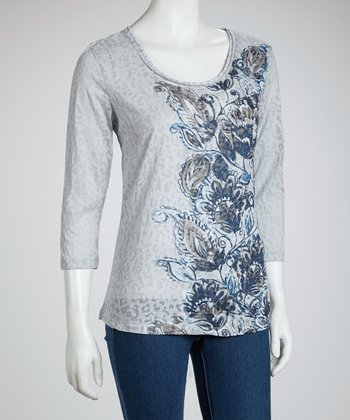 Blue & Golden Branch Floral Leopard Three-Quarter Sleeve Top