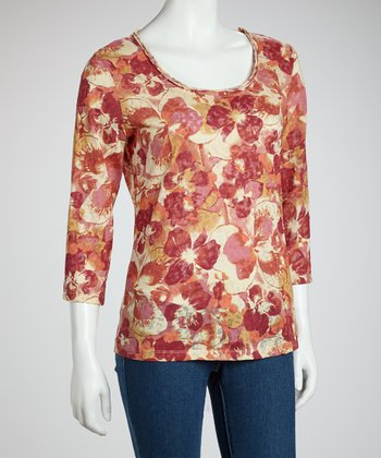 Burgundy & Messina Floral Leopard Three-Quarter Sleeve Top