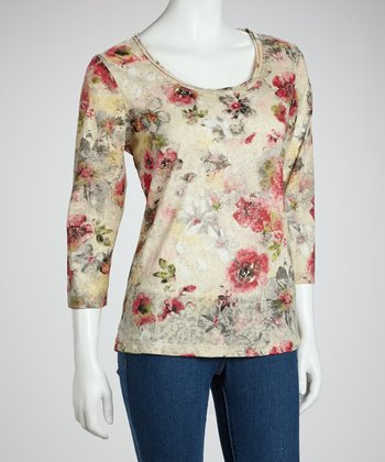 Gray & Louise Floral Leopard Three-Quarter Sleeve Top