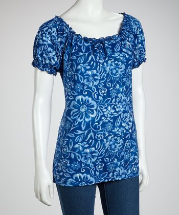 Blue Floral Peasant Top