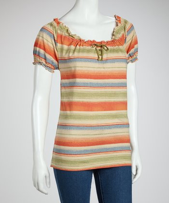 Sunset & Green Stripe Peasant Top