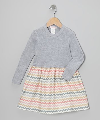 Gray Rainbow Zigzag Dress - Infant, Toddler & Girls