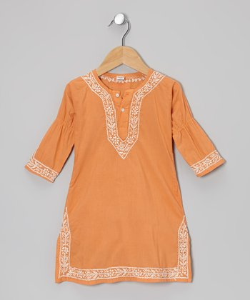Orange Koi Hand-Embroidered Dress - Toddler & Girls
