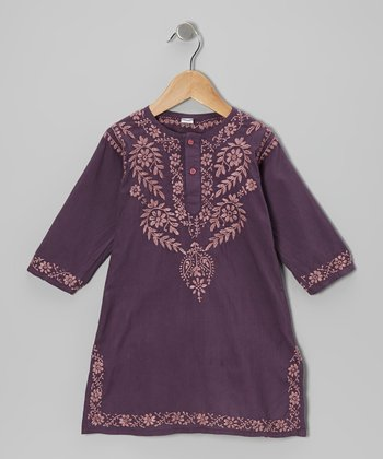 Plum Acai Hand-Embroidered Dress - Infant, Toddler & Girls