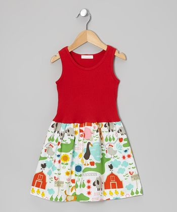 Red Sweet Farm Animal Dress - Infant