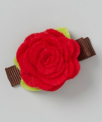 Red Felt Rose Clip