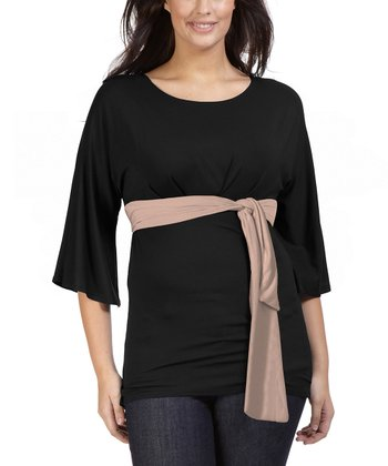 Black Aaron Tie Waist Top - Plus