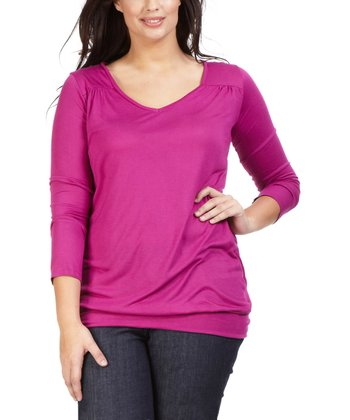 Fuchsia Lizzy Scoop Neck Tee - Plus
